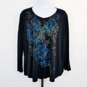 JMS Just My Size 5X Floral Long Sleeve T-Shirt
